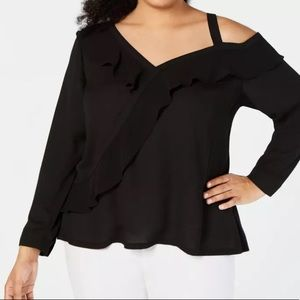 INC Plus Size Asymmetrical-Ruffle Knit Top
